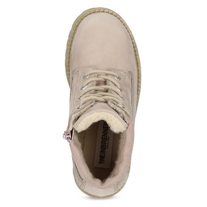 Ružová kožená členková obuv weinbrenner-junior, ružová, 326-5608 - 17