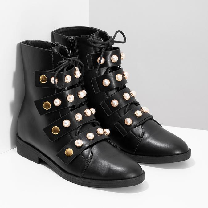 Vysoká členková obuv s perličkami bata, čierna, 591-6634 - 26