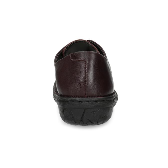 Vínové ležérne dámske kožené poltopánky bata, červená, 526-5665 - 15