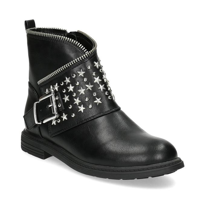 Dievčenské členkové čižmy s hviezdičkami mini-b, čierna, 391-6264 - 13