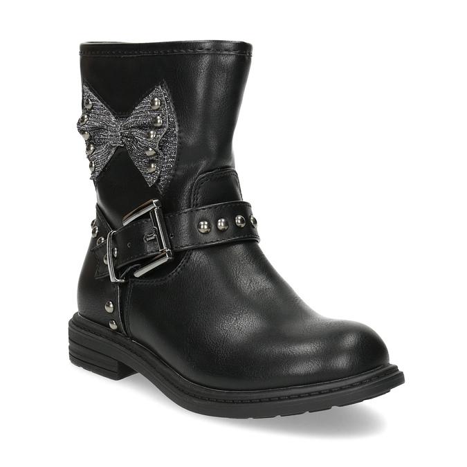 Detské čierne čižmy s mašľou mini-b, čierna, 291-6132 - 13