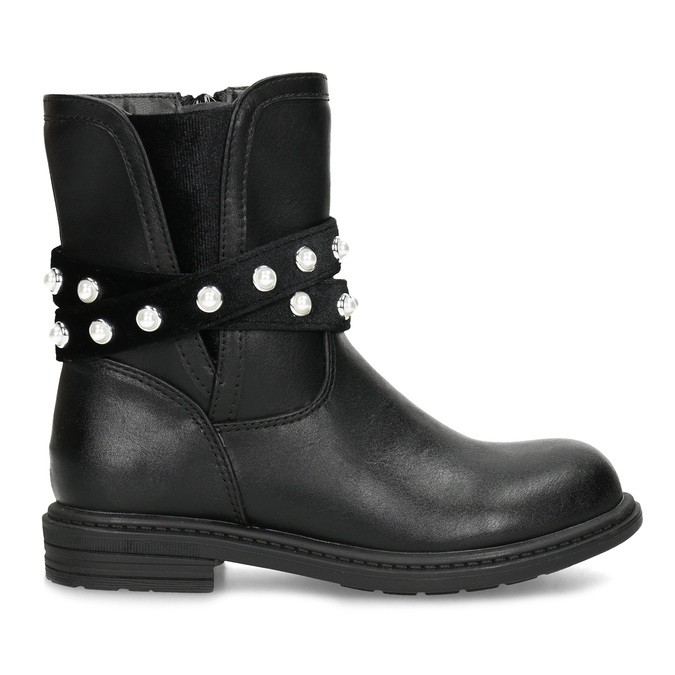 Dievčenské zateplené čižmy s perličkami mini-b, čierna, 291-6111 - 19