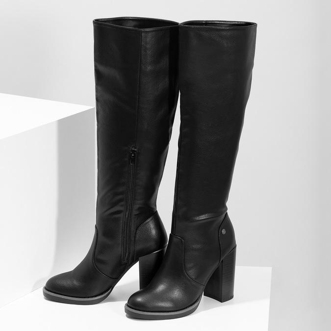 Čierne dámske čižmy na stabilnom podpätku insolia, čierna, 791-6617 - 16