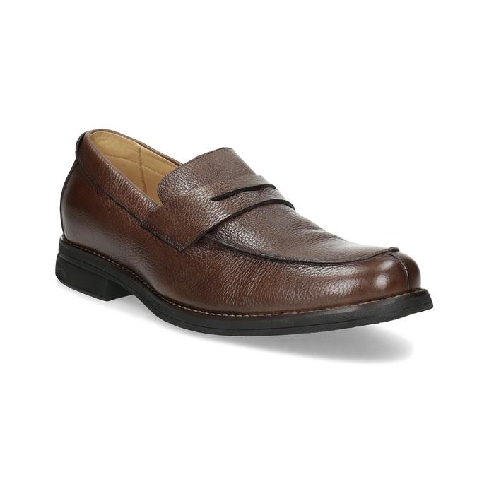 Kožené hnedé Penny Loafers mokasíny comfit, hnedá, 814-3627 - 13