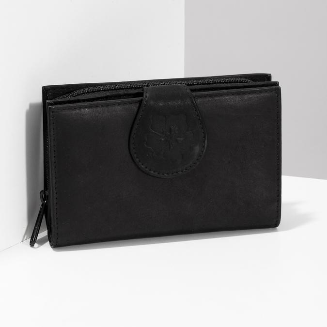 Dámska kožená peňaženka bata, čierna, 944-6155 - 17
