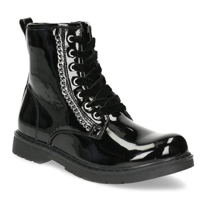 Zimná dievčenská lesklá členková obuv mini-b, čierna, 391-6170 - 13