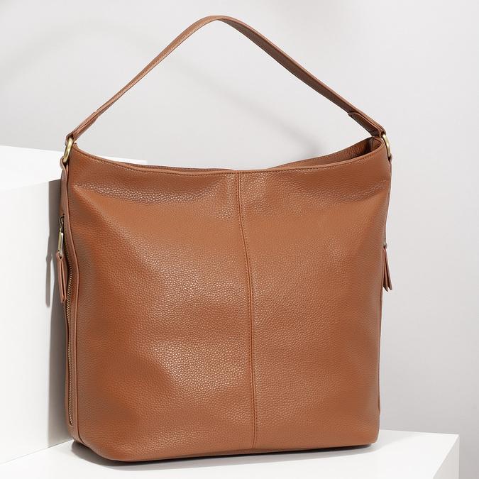 Hnedá Hobo kabelka s prešitím bata, hnedá, 961-4921 - 17