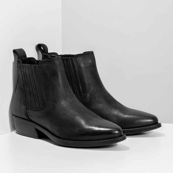Dámska kožená členková obuv s pružením bata, čierna, 596-6969 - 26