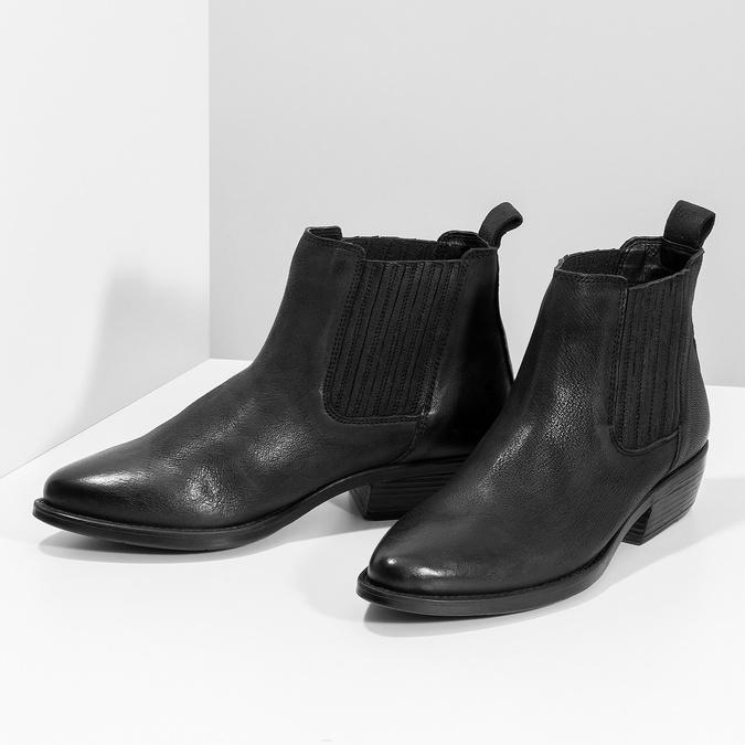 Dámska kožená členková obuv s pružením bata, čierna, 596-6969 - 16