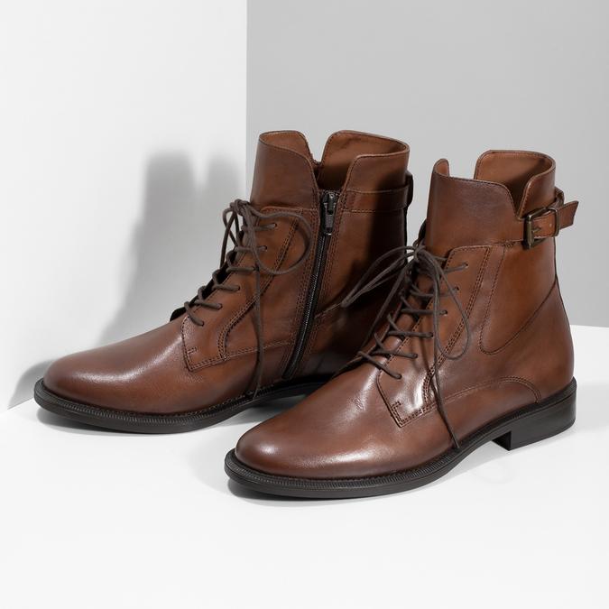 Dámske hnedé kožené čižmy bata, hnedá, 594-4674 - 16
