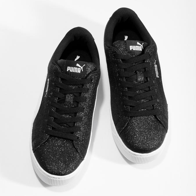 Detské čierne trblietavé tenisky na flatforme puma, čierna, 401-6392 - 16