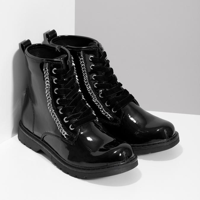 Zimná dievčenská lesklá členková obuv mini-b, čierna, 391-6170 - 26