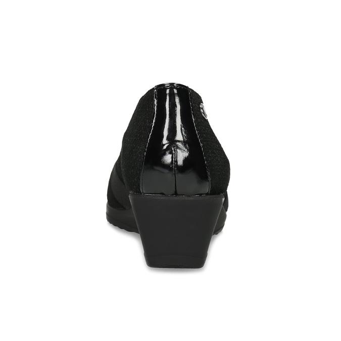 Kožené čierne lodičky na nízkom klinku comfit, čierna, 626-6651 - 15
