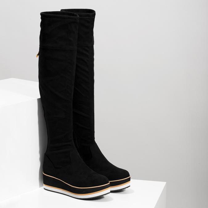 Čierne dámske čižmy na flatforme bata, čierna, 699-6639 - 26