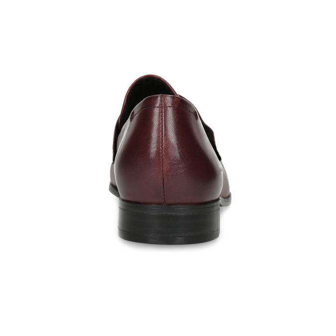 Dámske vínové kožené mokasíny bata, červená, 514-5601 - 15