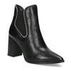 Kožená členková obuv na podpätku bata, čierna, 796-6660 - 13
