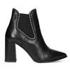 Kožená členková obuv na podpätku bata, čierna, 796-6660 - 19