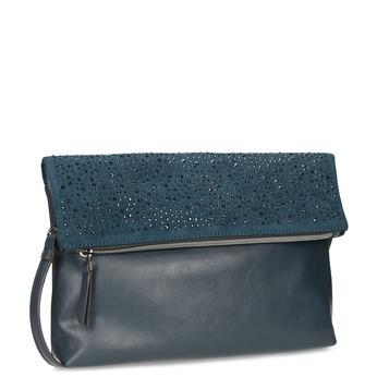 Tmavomodrá listová kabelka s klopou a kamienkami bata, modrá, 961-9910 - 13
