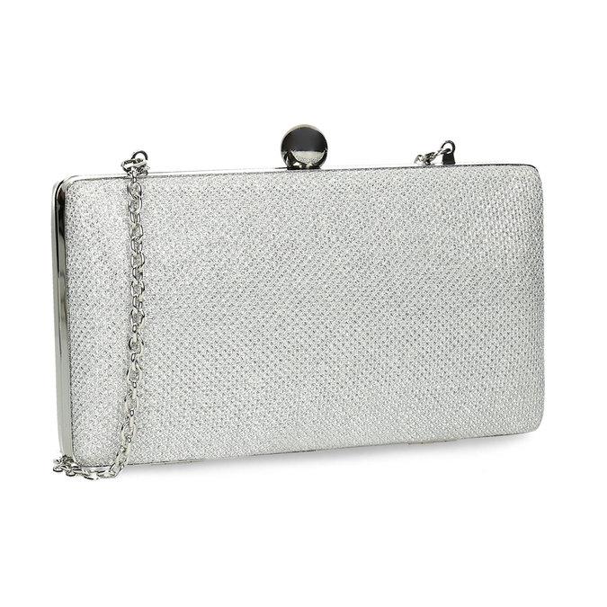 Strieborná listová kabelka pevného tvaru bata, strieborná, 969-1702 - 13