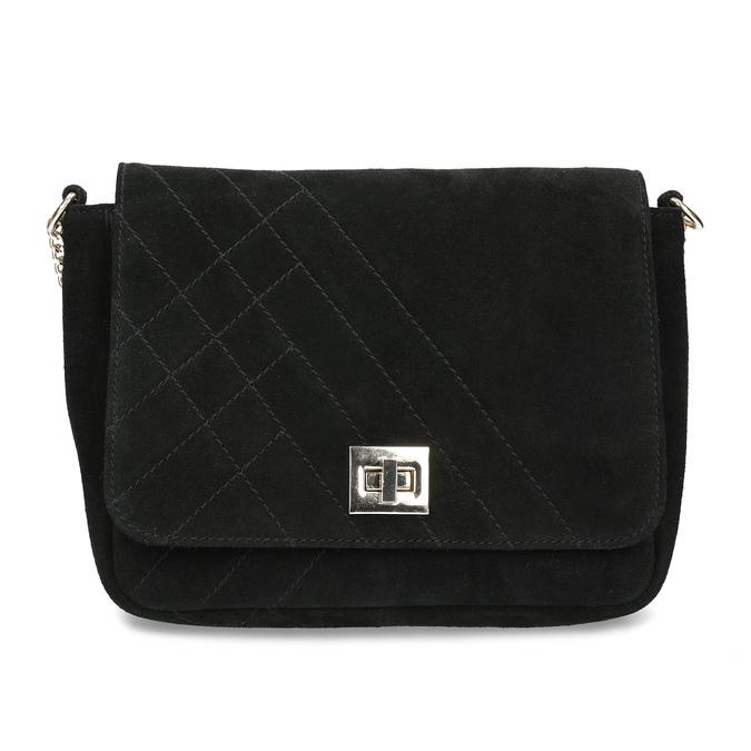 Kožená čierna crossbody kabelka s prešitím bata, čierna, 963-6603 - 26