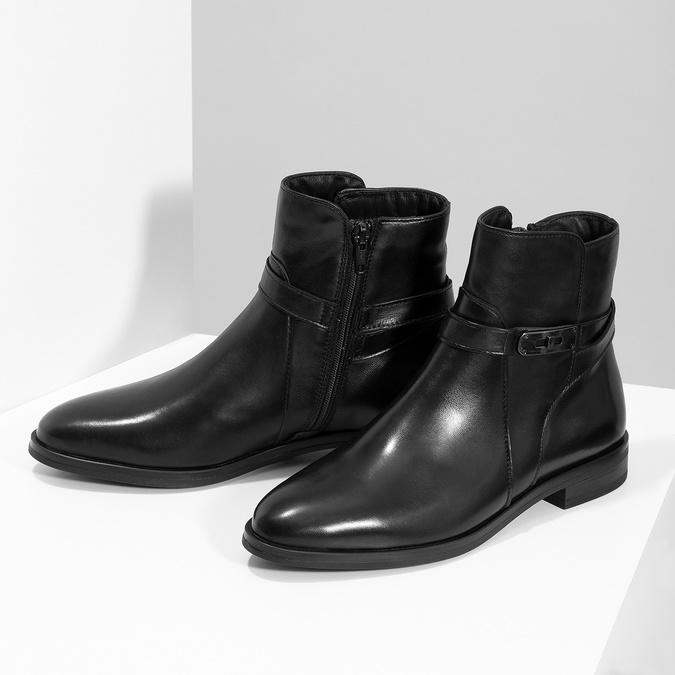 Dámske kožené čižmy s prackou bata, čierna, 594-6672 - 16