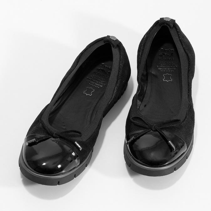 Dámske kožené čierne baleríny flexible, čierna, 526-6663 - 16