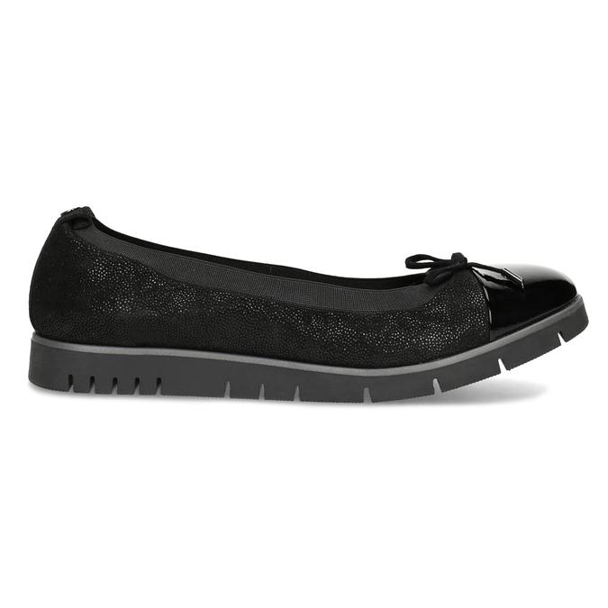 Dámske kožené čierne baleríny flexible, čierna, 526-6663 - 19