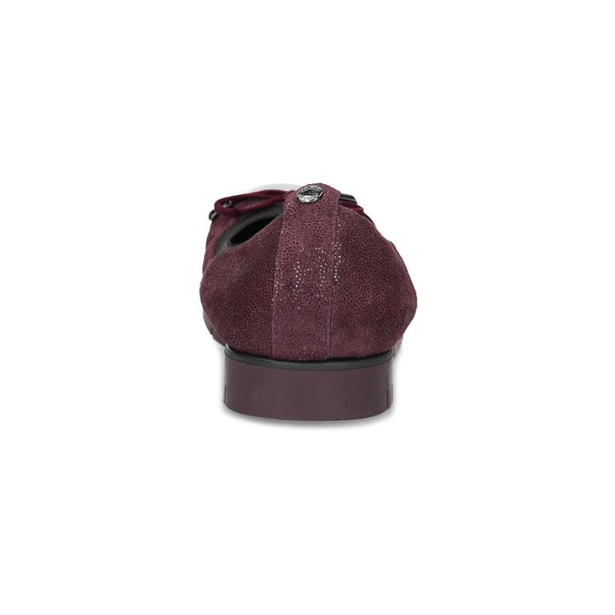 Dámske kožené vínové baleríny flexible, červená, 526-5663 - 15