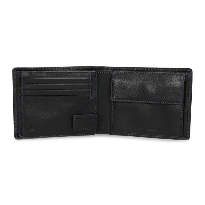 Kožená peňaženka s modrým prešitím bata, čierna, 944-6218 - 15