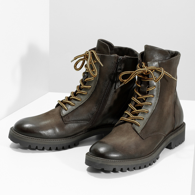 Zimná vysoká kožená členková obuv bata, šedá, 896-2737 - 16