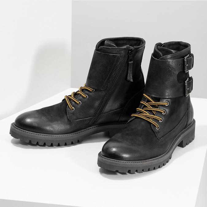 Pánska kožená zimná čierna obuv bata, čierna, 896-6735 - 16