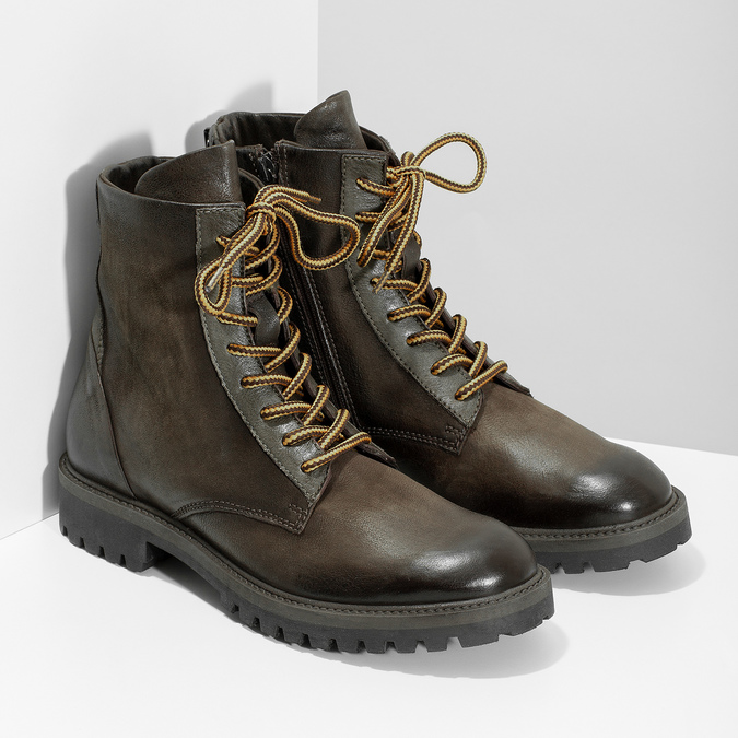 Zimná vysoká kožená členková obuv bata, šedá, 896-2737 - 26