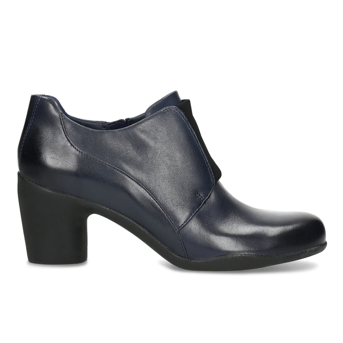 Modrá kožená členková obuv s pružením clarks, modrá, 716-9076 - 19