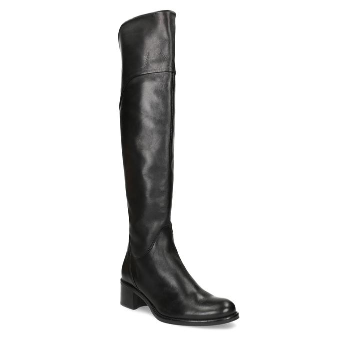 Kožené čierne čižmy nad kolená bata, čierna, 694-6666 - 13