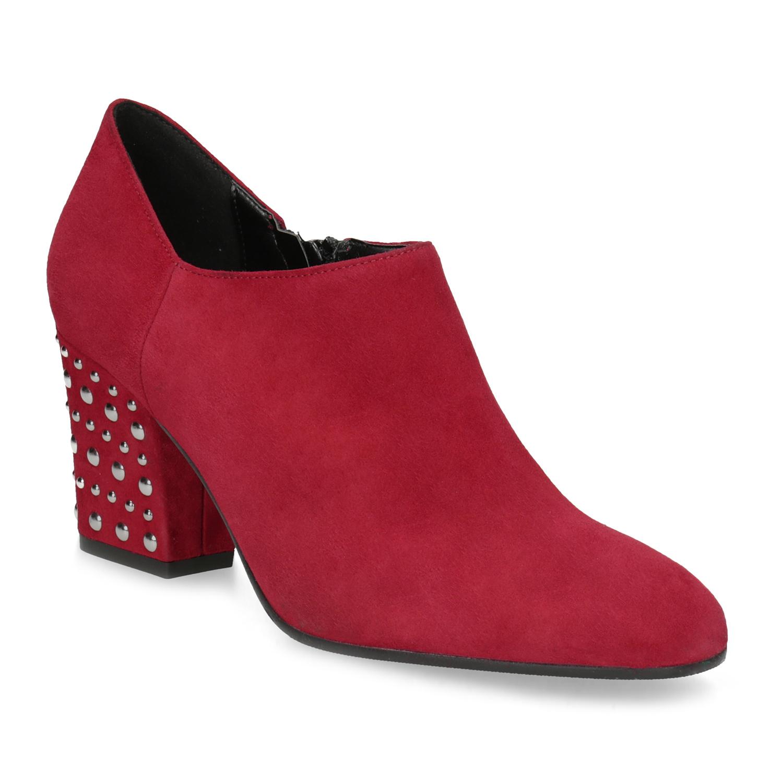 Baťa Kožené červené členkové čižmy s cvočkami - Red Trend  2cb92740d78