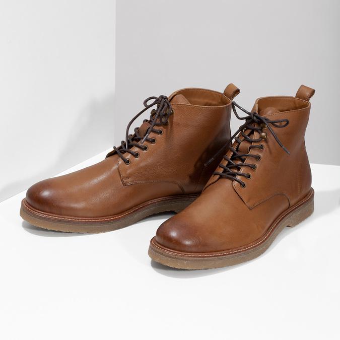 Hnedá kožená členková pánska obuv bata, hnedá, 896-3721 - 16