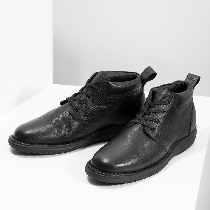 Pánska kožená členková obuv comfit, čierna, 894-6701 - 16