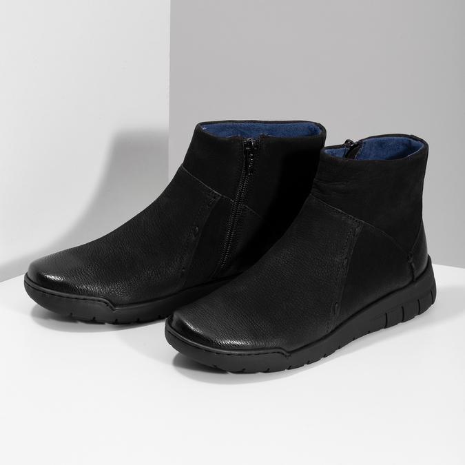 Kožená dámska členková obuv bata, čierna, 596-6706 - 16