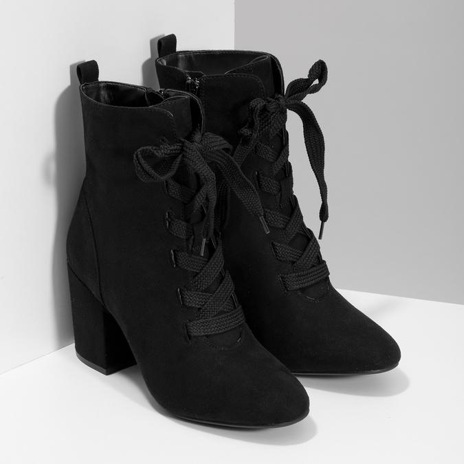 Dámske čierne čižmy so šnurovaním bata-red-label, čierna, 799-6633 - 26