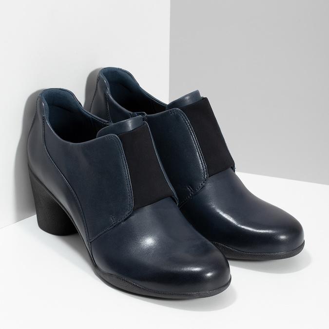 Modrá kožená členková obuv s pružením clarks, modrá, 716-9076 - 26