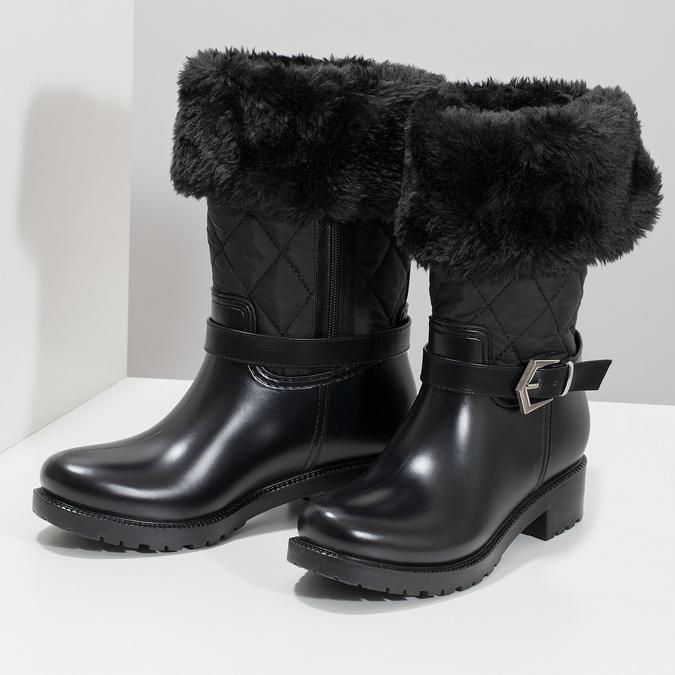 Dámske čierne snehule s kožúškom bata, čierna, 592-6602 - 16