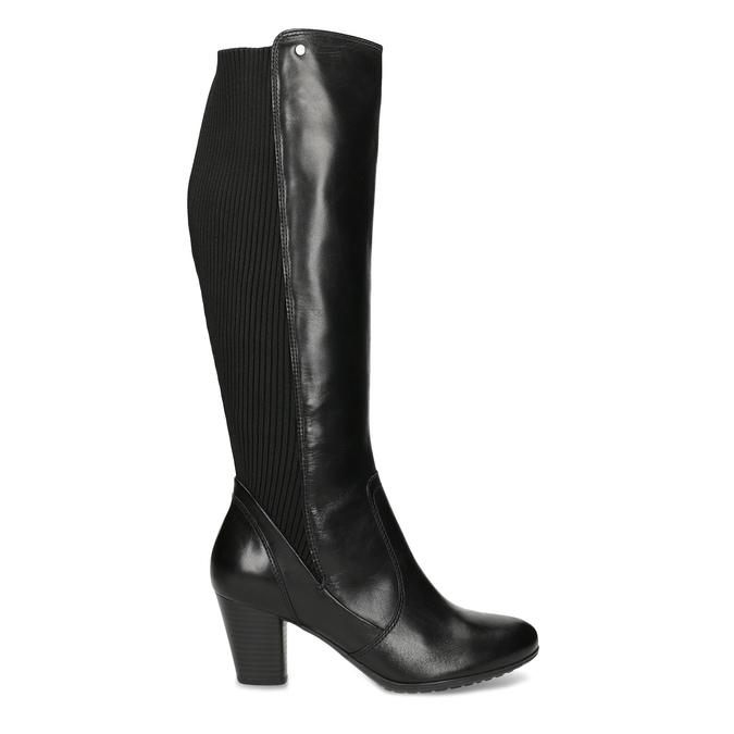 Kožené čierne dámske čižmy s úpletom, čierna, 696-6657 - 19