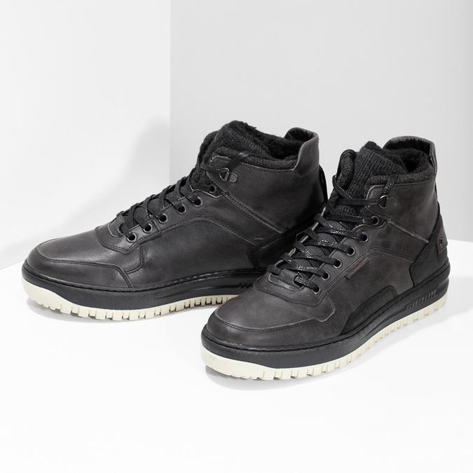 Čierna pánska kožená členková obuv bata, čierna, 896-6712 - 16