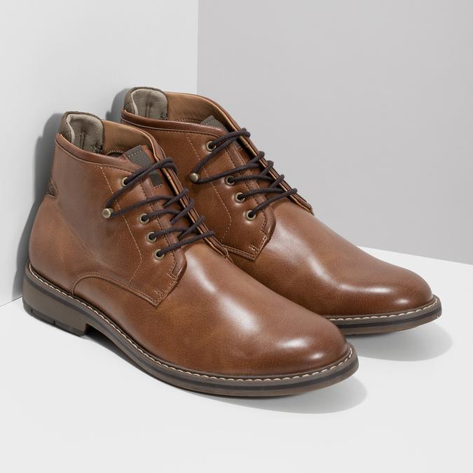 Hnedá členková obuv pánska s pružením bata-red-label, hnedá, 821-3610 - 26