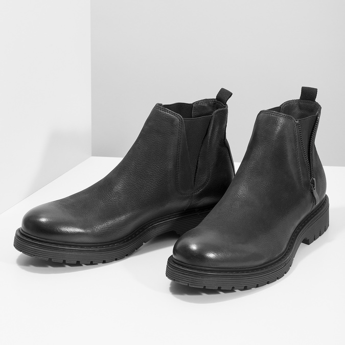 Kožená pánska zimná obuv v Chelsea štýle bata, čierna, 896-6714 - 16
