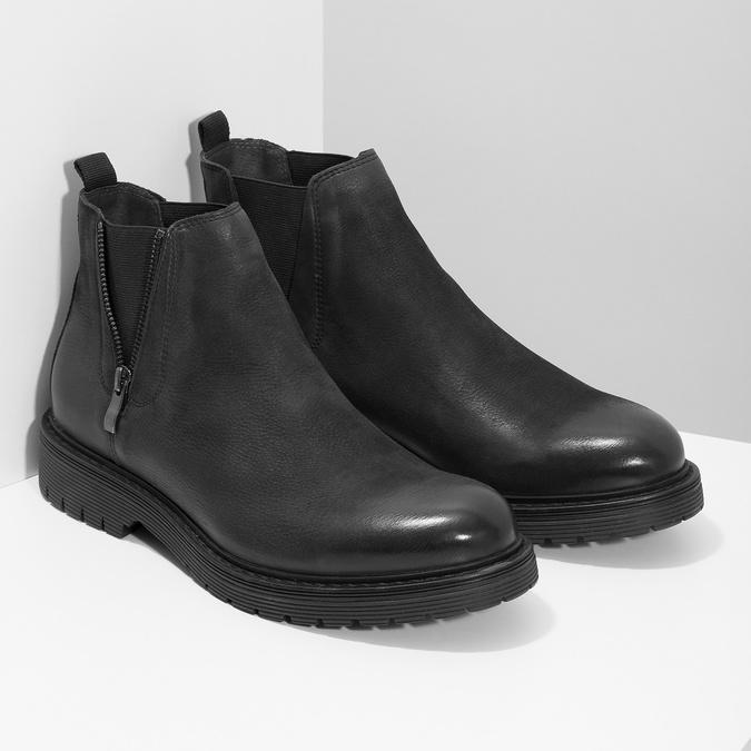 Kožená pánska zimná obuv v Chelsea štýle bata, čierna, 896-6714 - 26