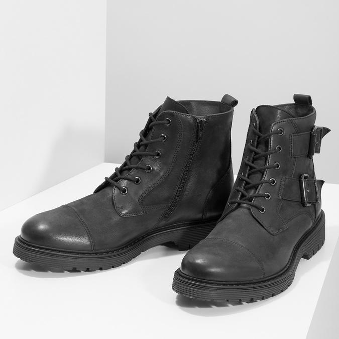 Kožená pánska členková obuv s prackami bata, čierna, 896-6715 - 16