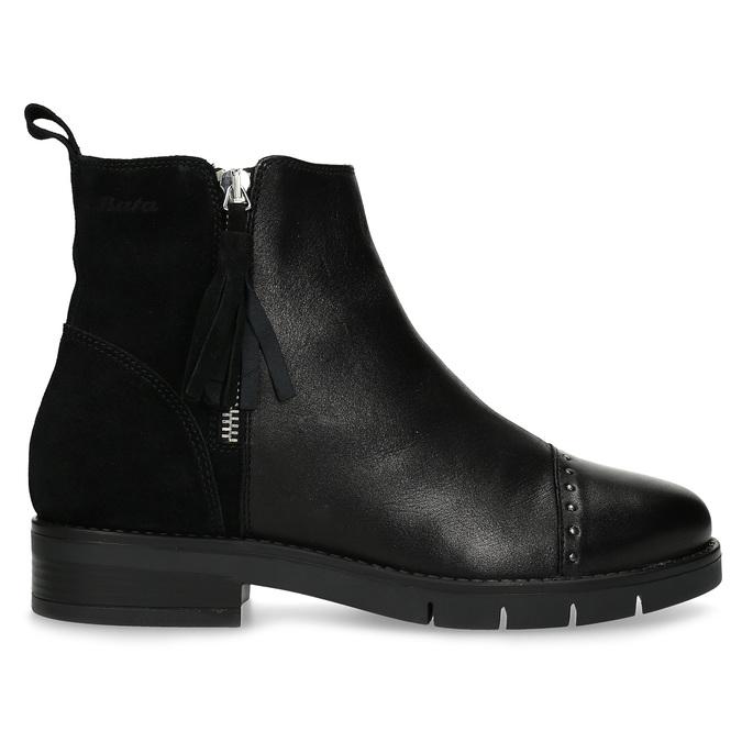 Kožená dámska členková obuv so strapcami flexible, čierna, 593-6195 - 19
