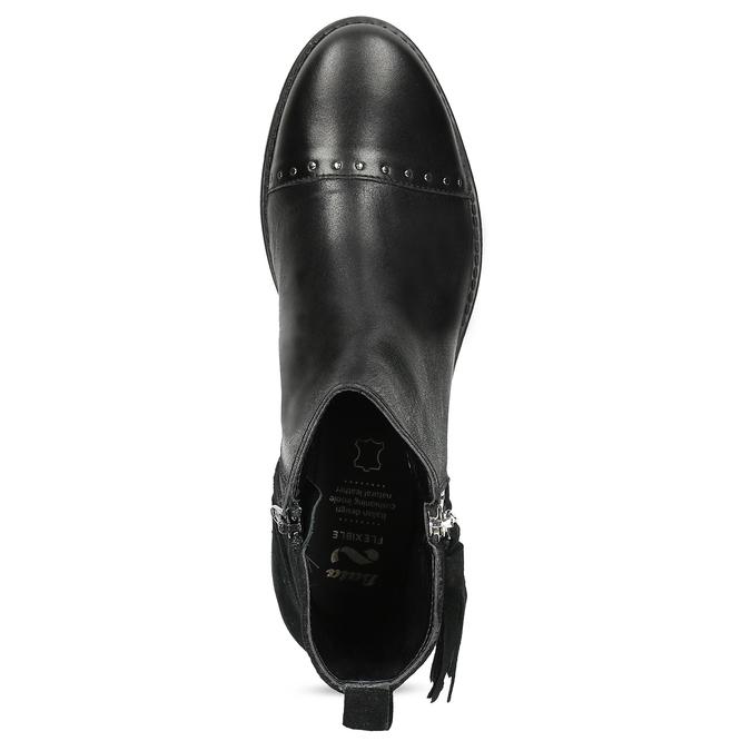 Kožená dámska členková obuv so strapcami flexible, čierna, 593-6195 - 17