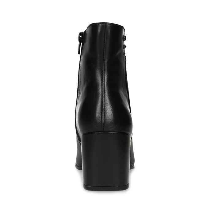 Čierna členková kožená obuv na podpätku bata, čierna, 794-6658 - 15